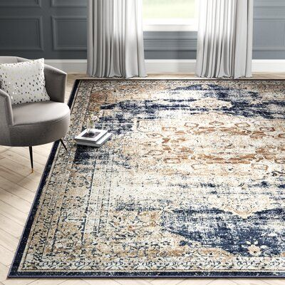 Laurel Foundry Modern Farmhouse Abbeville Dark Blue Area Rug Rug Size Rectangle 10 X 14 5 Living Room Area Rugs Rugs In Living Room Blue Area Rugs