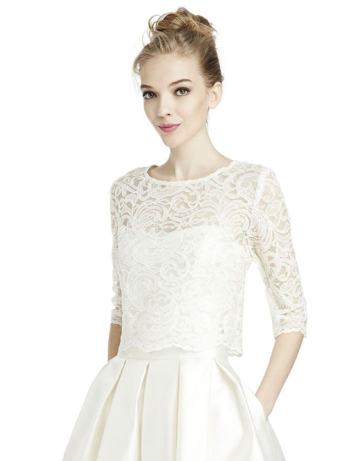 Crop Top Lace 3 4 Wedding Dress Topper