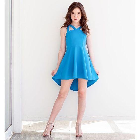 Cocuk Abiye Kiyafet Modelleri Mavi Kisa Askili Simetrik Etek Sade Ve Sik The Dress Elbise Modelleri Moda Stilleri