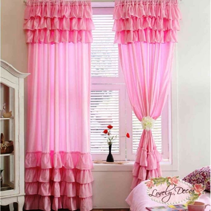 Sweet Bedroom Designs With Pink Curtain For Girls: Beautiful White Bedroom  With Pink Ruffle Curtain And Glass Door White Cupboard Also Pink Floral ...
