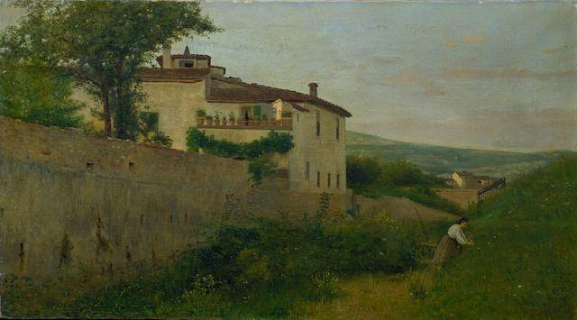 Silvestro Lega (1826-1895) La villetta Batelli lungo l'Affrico, 1863 Viareggio, Istituto Matteucci © Institut Matteucci, Viareggio | DaringToDo.com