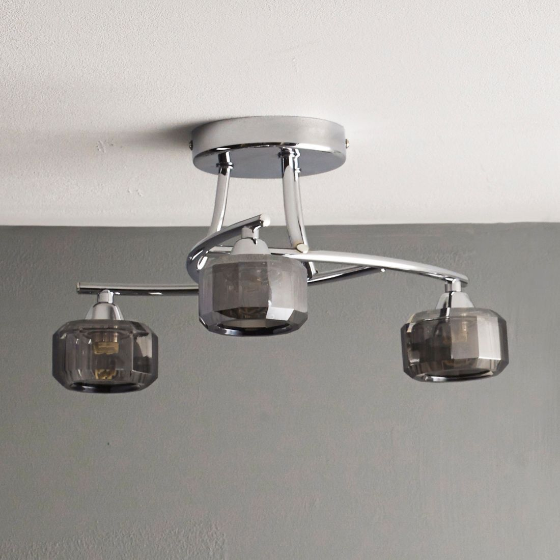 Allyn Clear Chrome & Smoked Glass 3 Lamp Ceiling Light | Chrome ...