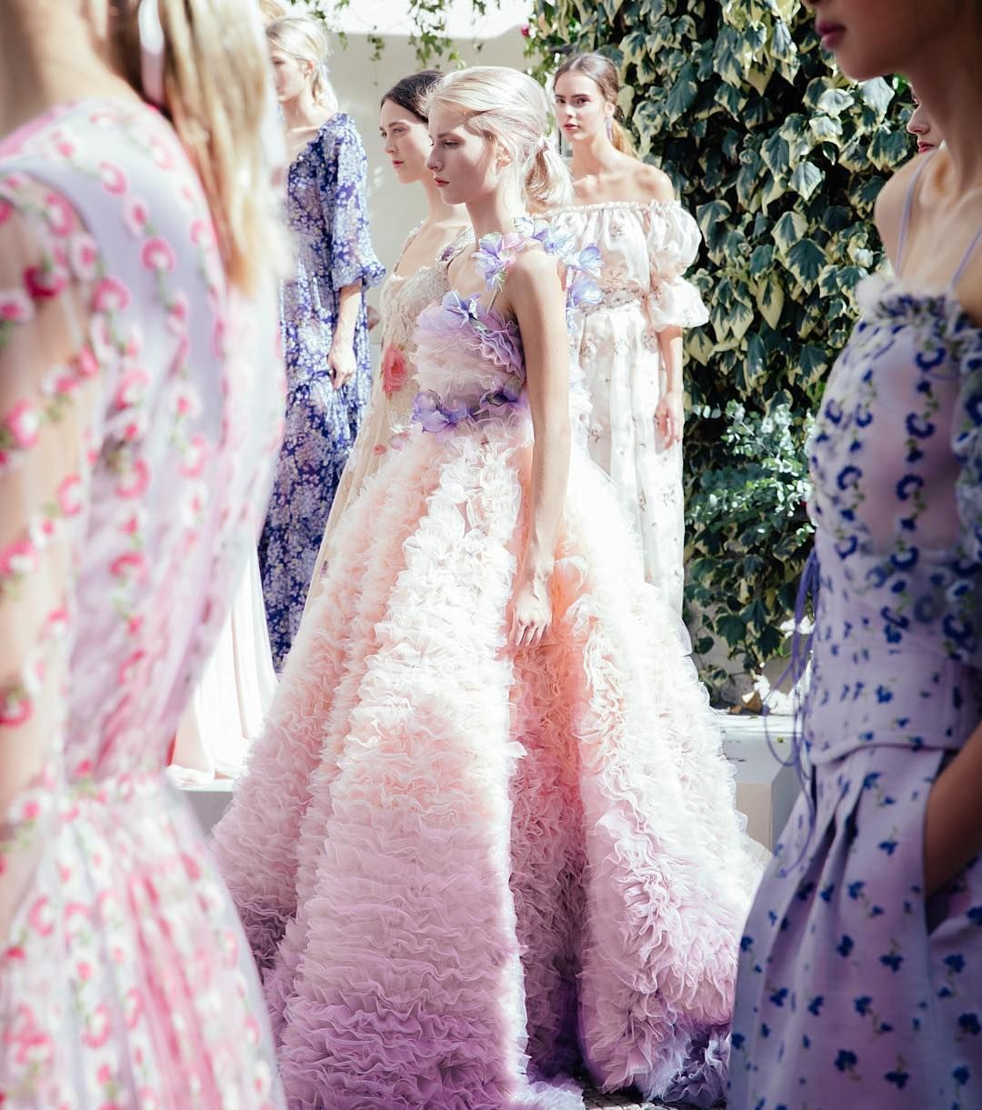 The colour palette of Luisa Beccaria's #SS16 collection makes for the perfect #weddinginspiration! We love these feminine tones for pastel-hued #bridesmaid dresses or pink and purple #floral arrangements. | WedLuxe Magazine | #wedding #luxury #weddinginspiration #dresses #fashion