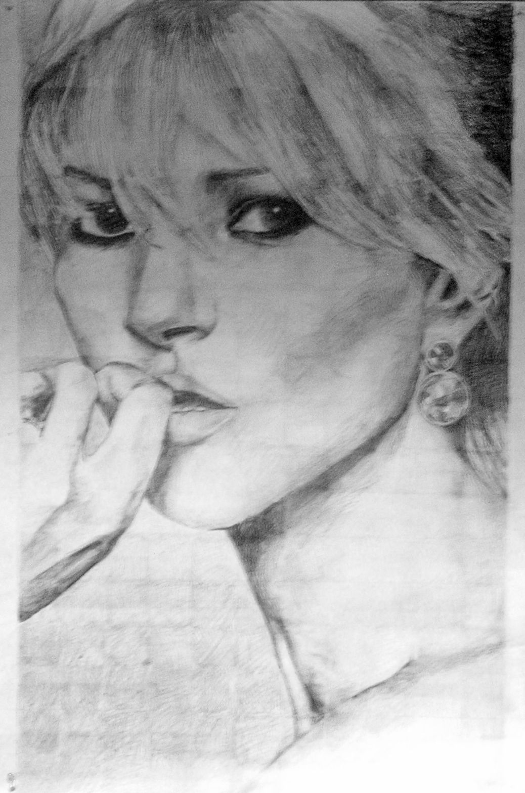 From an art assignment, a large sketch of lovely Kate Moss ...