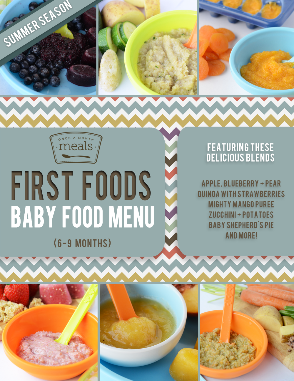 First Foods 6 9 Month Summer Baby Food Menu Baby Love My