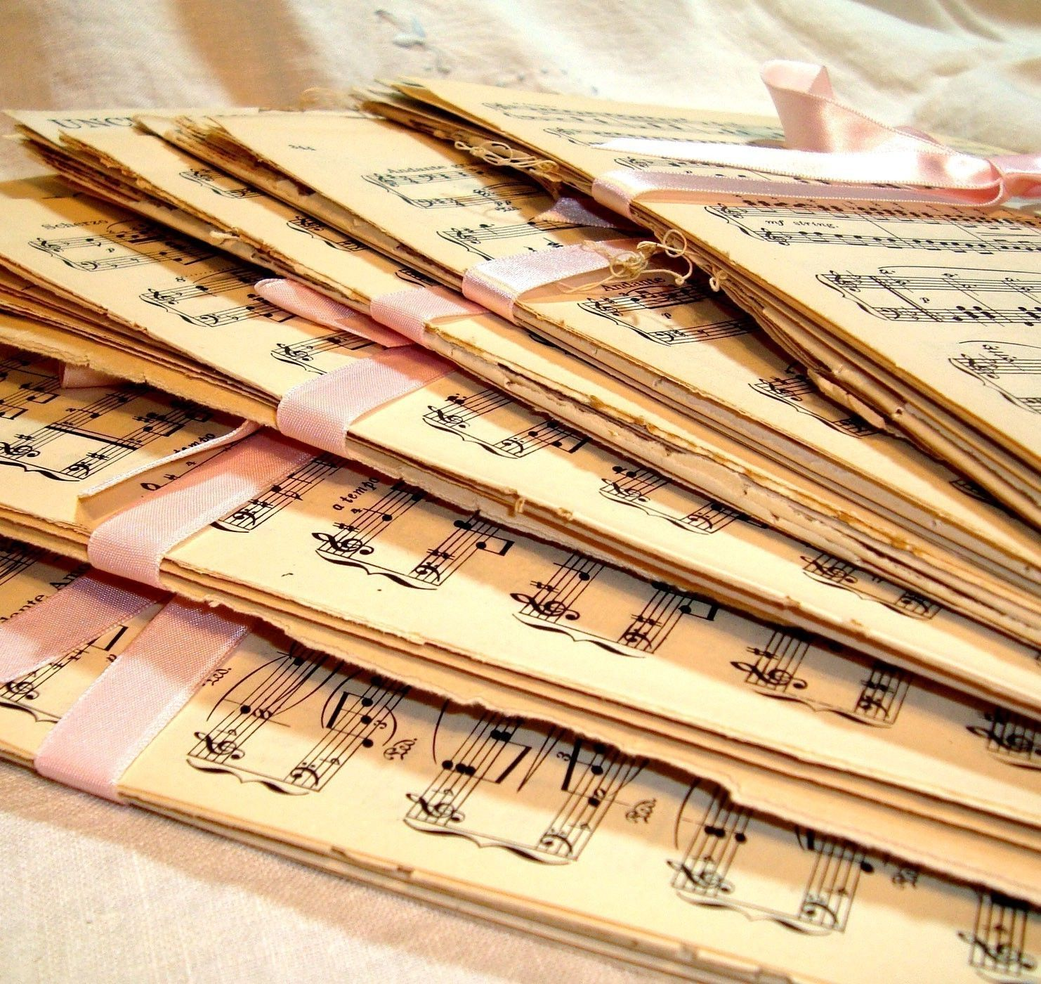 Vintage Sheet Music Paper Pack - 20 Sheets Great Mix. $9.00, via Etsy.