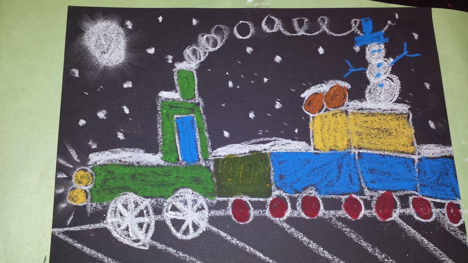 Kindergarten Polar Express Trains Chalk Pastels Mrs