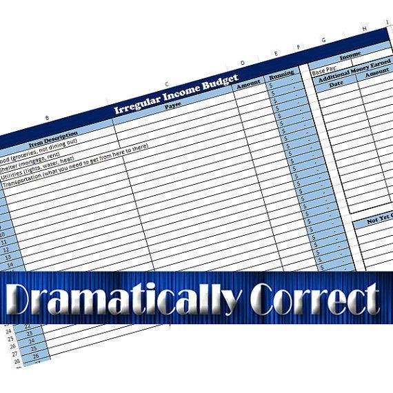 Irregular Income Worksheet Excel Budget Worksheet Financial