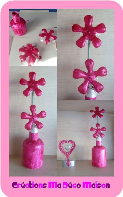 Fleurs faites avec des bouteilles en plastique cr ations ma d co maison au pair - Fleur bouteille plastique ...