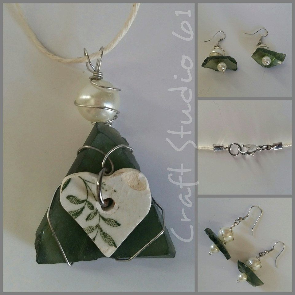 Hand crafted sea glass, sea pottery, pearl and wire necklace and earring set by CraftStudio61 on Etsy