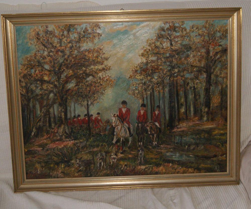 Ölgemälde Ölbild Antik Jagd Fuchsjagd Signiert K E Foxhunt Gemälde Fuchsjagd Ölgemälde
