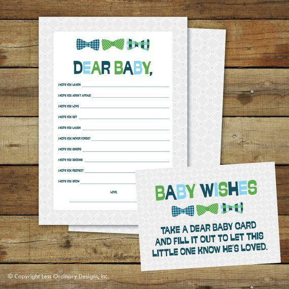 Bow ties baby wishes printable baby shower game, dear baby, instant