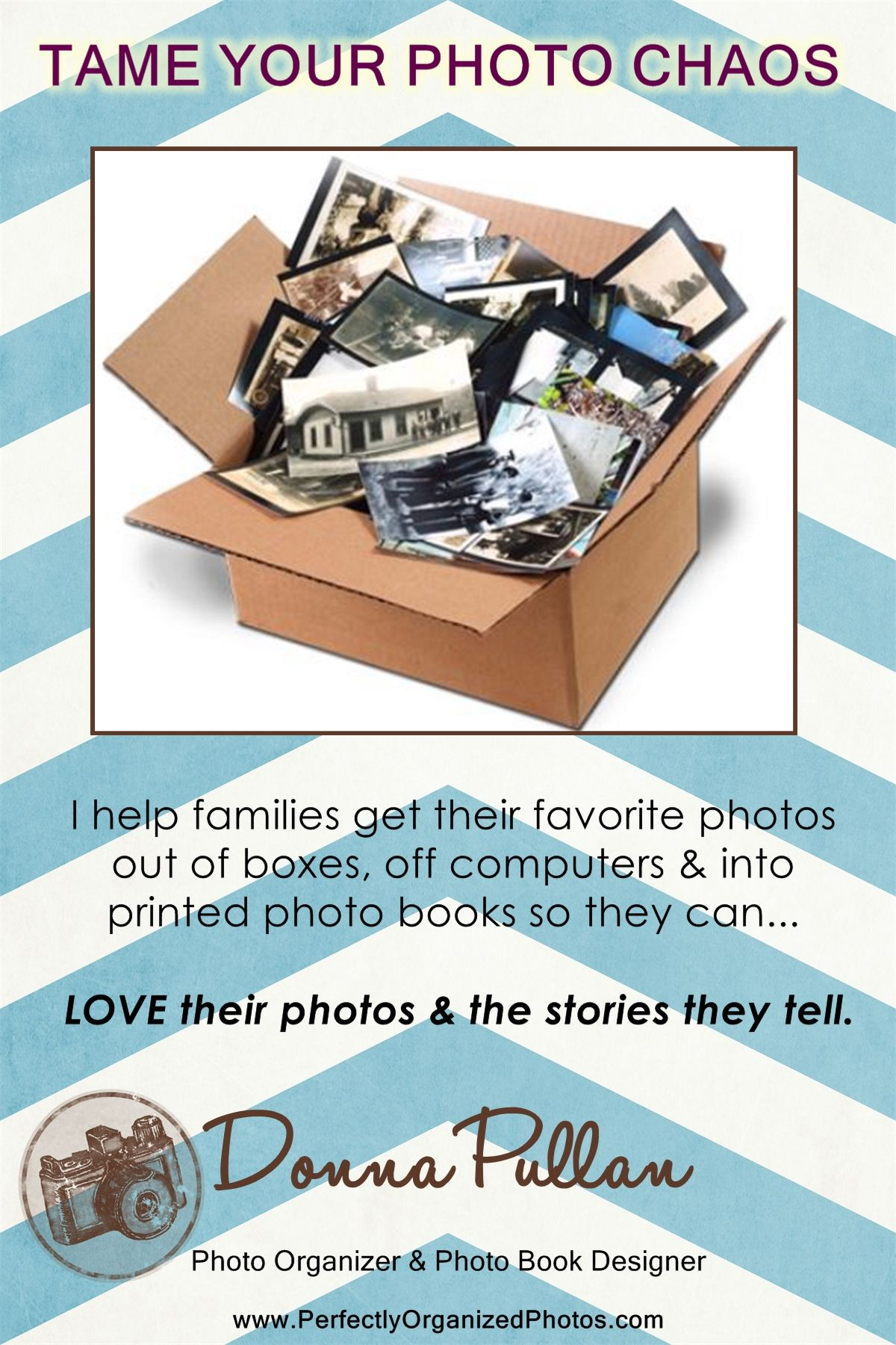 I help families get their favorites photos out of boxes, off of computer & devices and into printed photo books and on to keepsakes & home décor pieces.