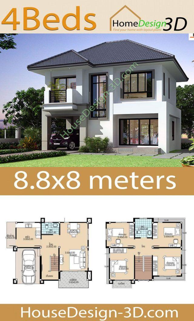 8x8 Bedroom Design: 8.8x8 With 4 Bedrooms En 2020