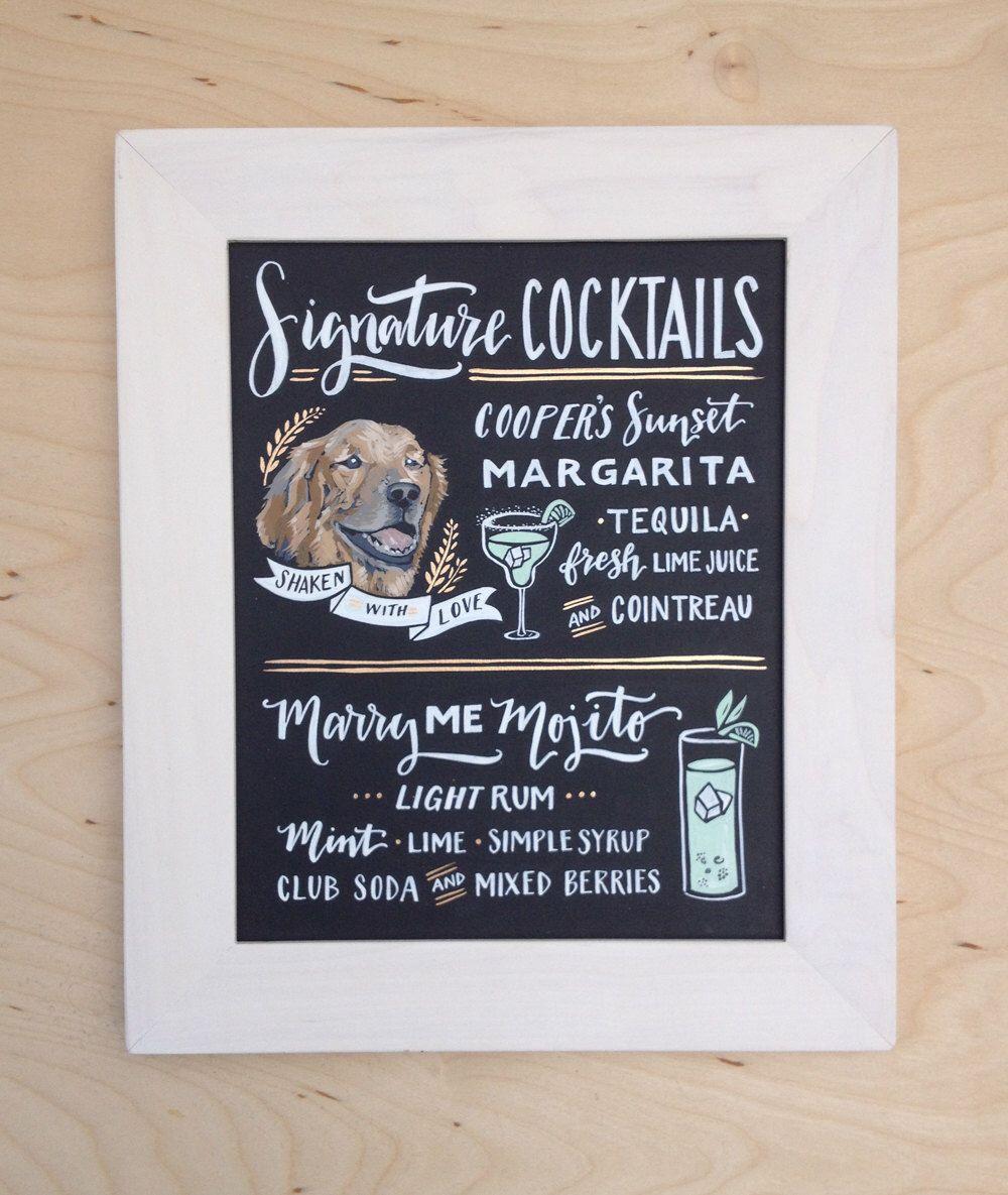 Dog Wedding Sign Signature Drink Sign Hand Illustrated