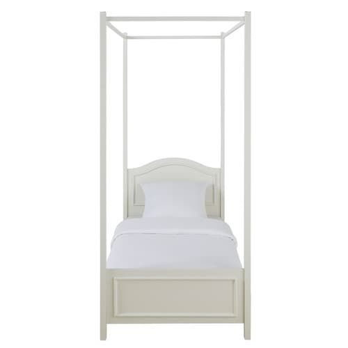 Wooden 90 x 190cm four-poster bed in white