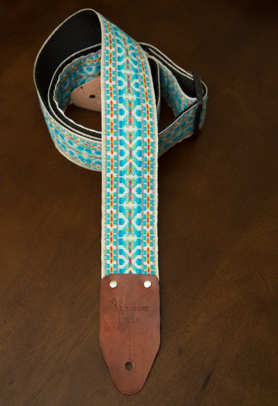 Turquoise White Vintage Styled Guitar Strap 40 00 Via Etsy Guitar Strap Vintage Guitars For Sale Vintage Guitars