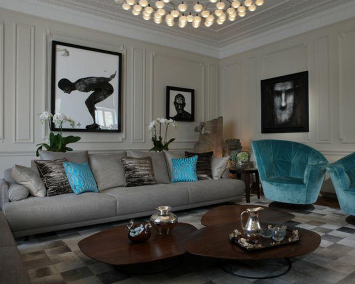 Fantastisch Großartiges Wohnzimmer Mit Sehr Schönen Kissen In Türkis Farbe