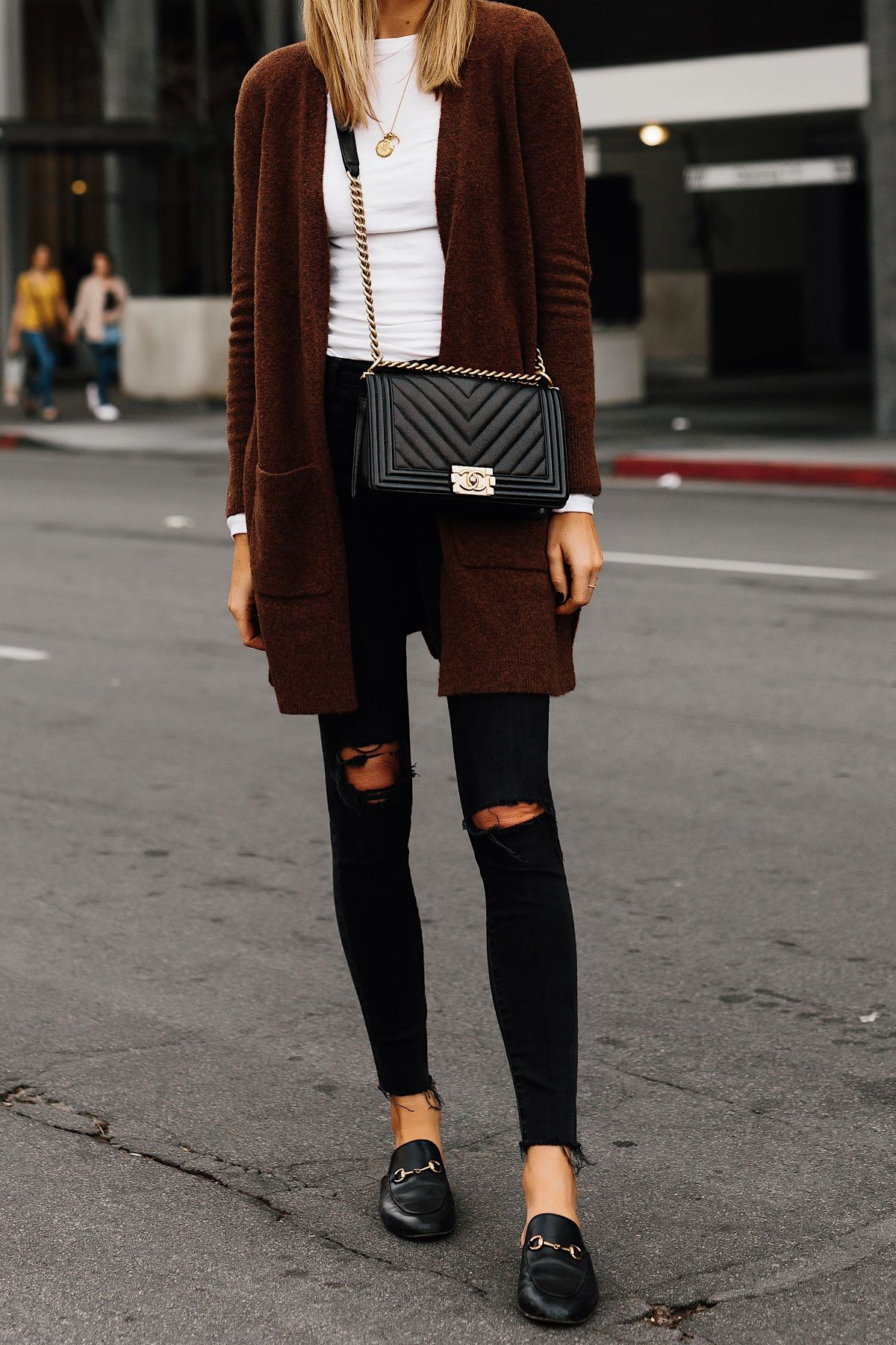 19039c4a09c2 Woman Wearing Madewell Brown Long Cardigan White Top Madewell Black Ripped  Skinny Jeans Gucci Black Princetown Loafer Mules Chanel Black Boy Bag  Fashion ...
