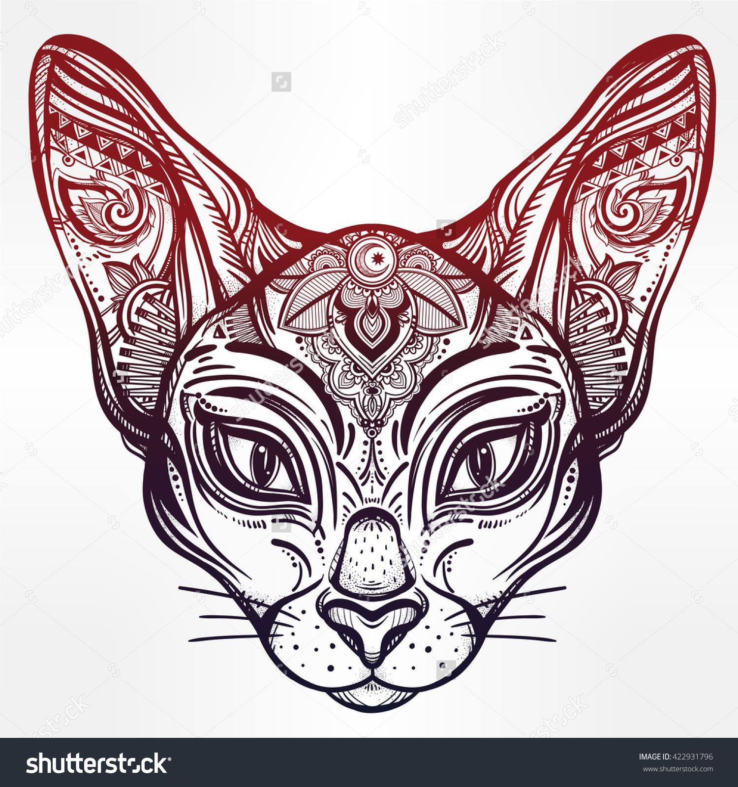 Design your t-shirt egypt - Vintage Ornate Cat Head With Tribal Ornaments Ideal Ethnic Background Tattoo Art Egyptian