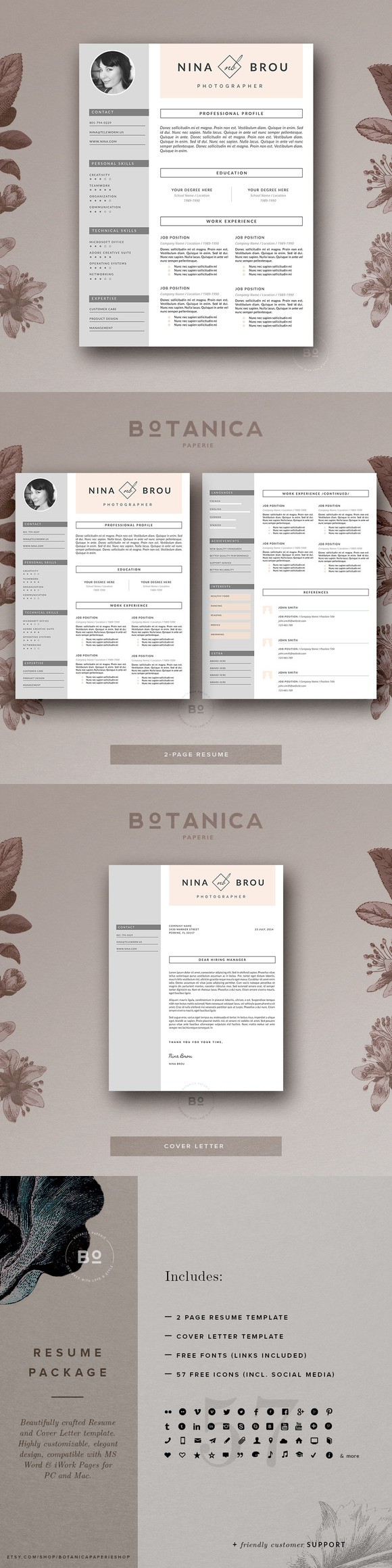 Resume Template  Cv Design Printables   Printables