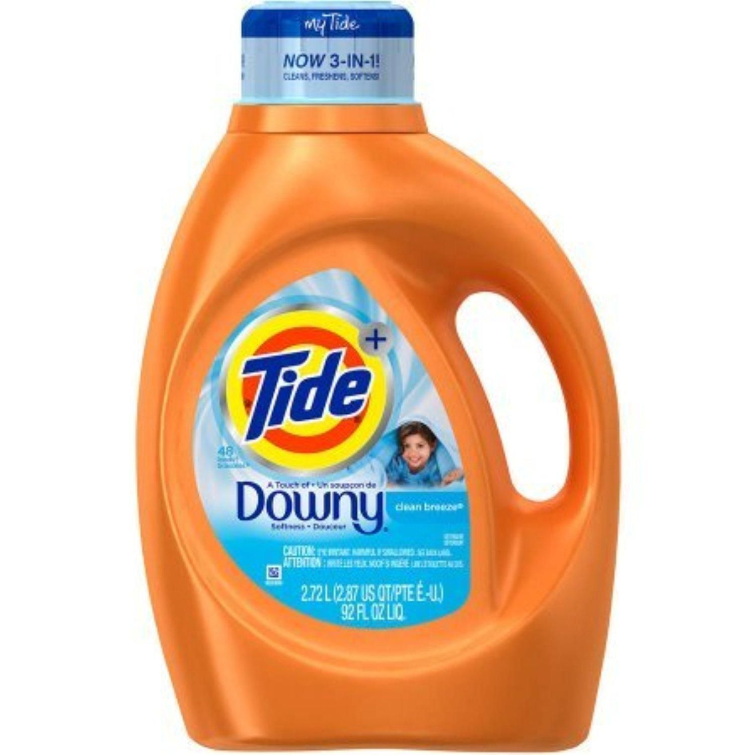 Tide Plus 3700087459 Downy Clean Breeze Scent Liquid Laundry