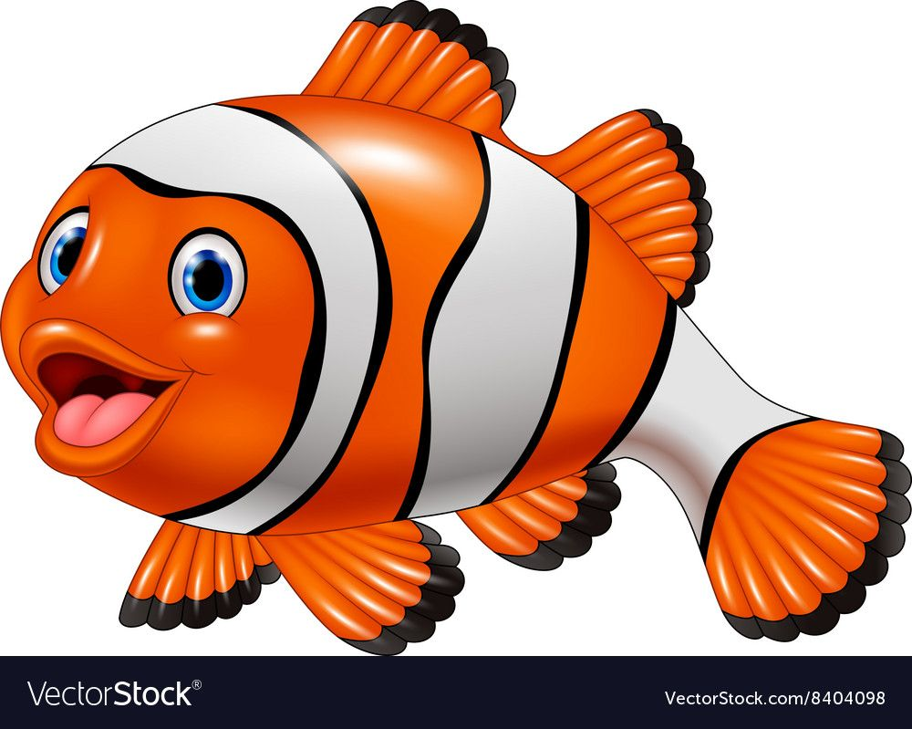 Vector Illustration Of Cute Clown Fish Cartoon Isolated On White Background Download A Free Preview Or High Quality A Clown Fish Cartoon Cute Clown Clown Fish