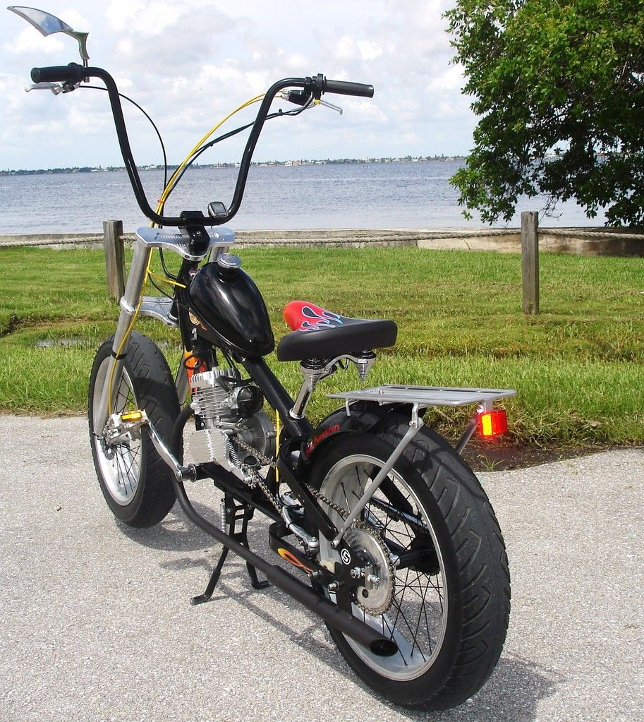 Stingray with gas engine and ape hangers. www.PedalChopper ...