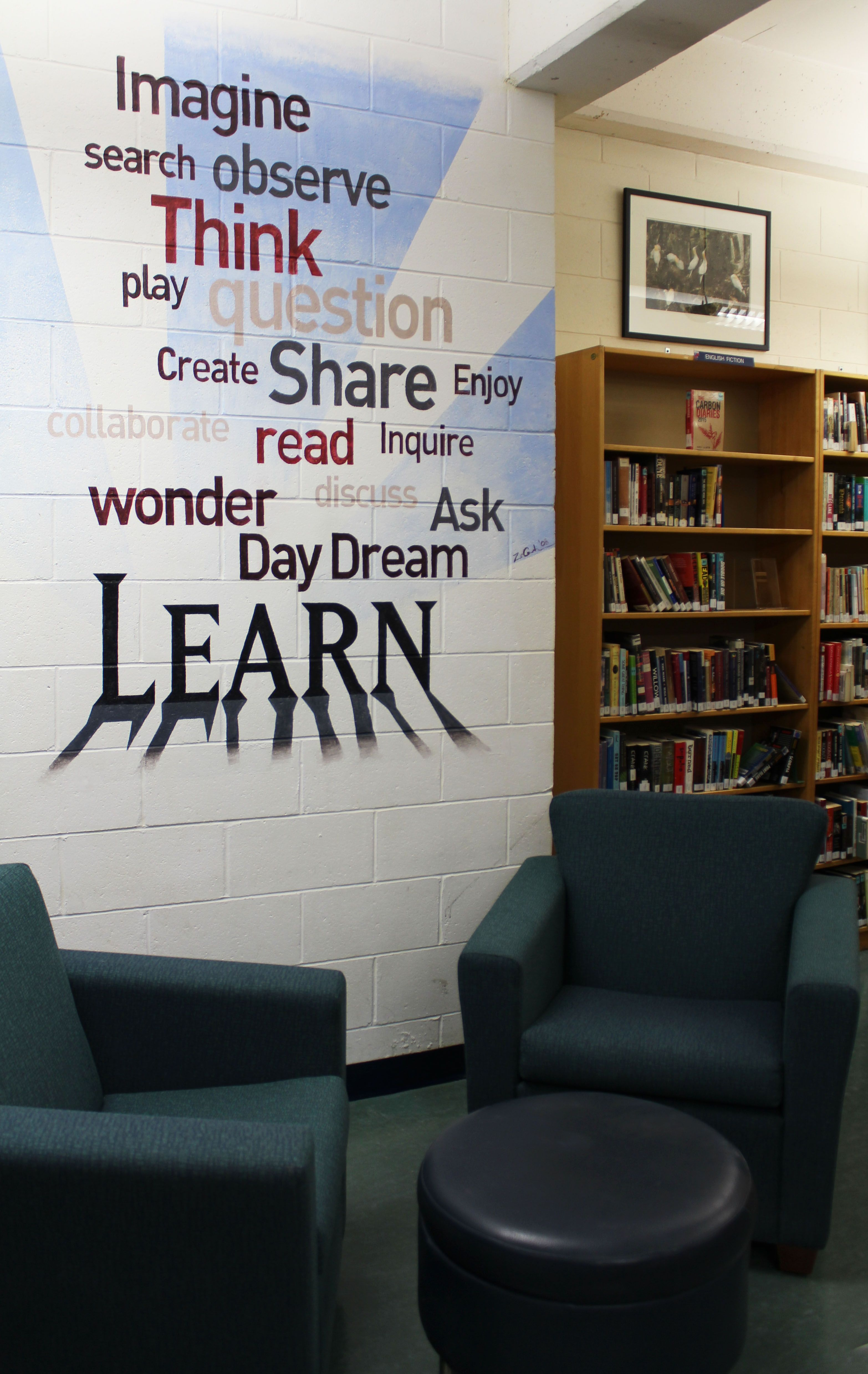 A Mural In The High School Resource Centre By Alum Zachary