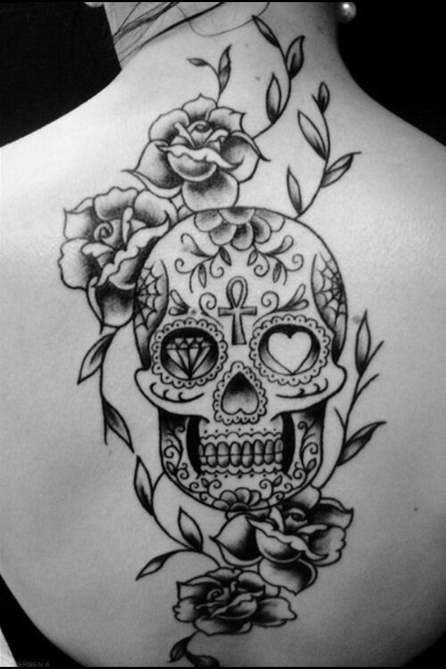 sugar skull back tattoo with roses love it tatts pinterest