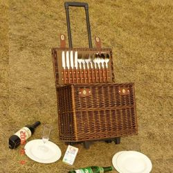 Luxury Wicker Picnic Basket With Wheels For Four Persons Buy