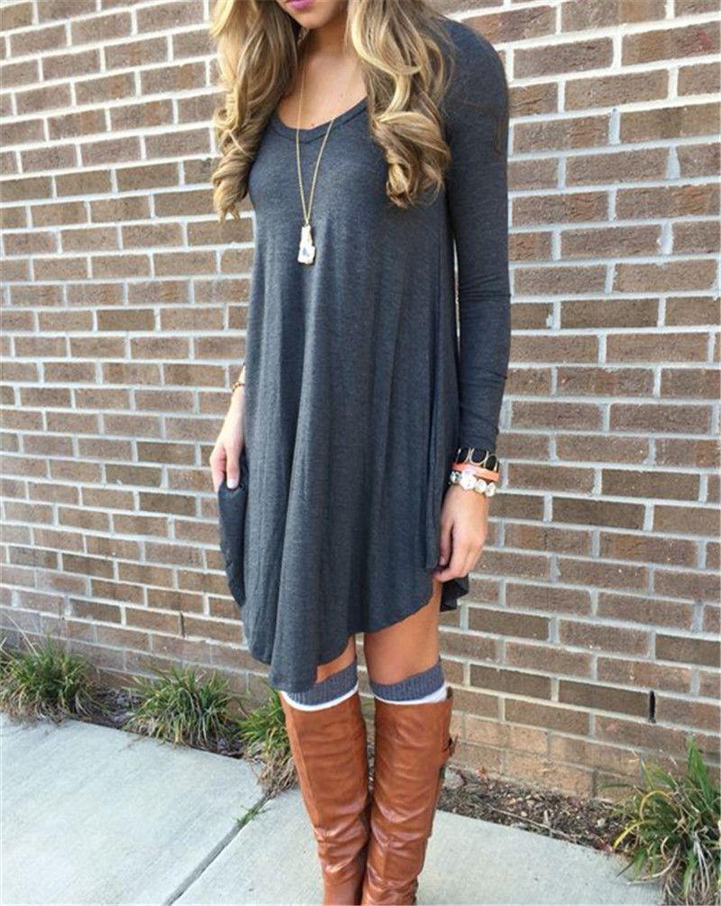 Fall dresses womens long sleeve casual tshirt dress autumn winter