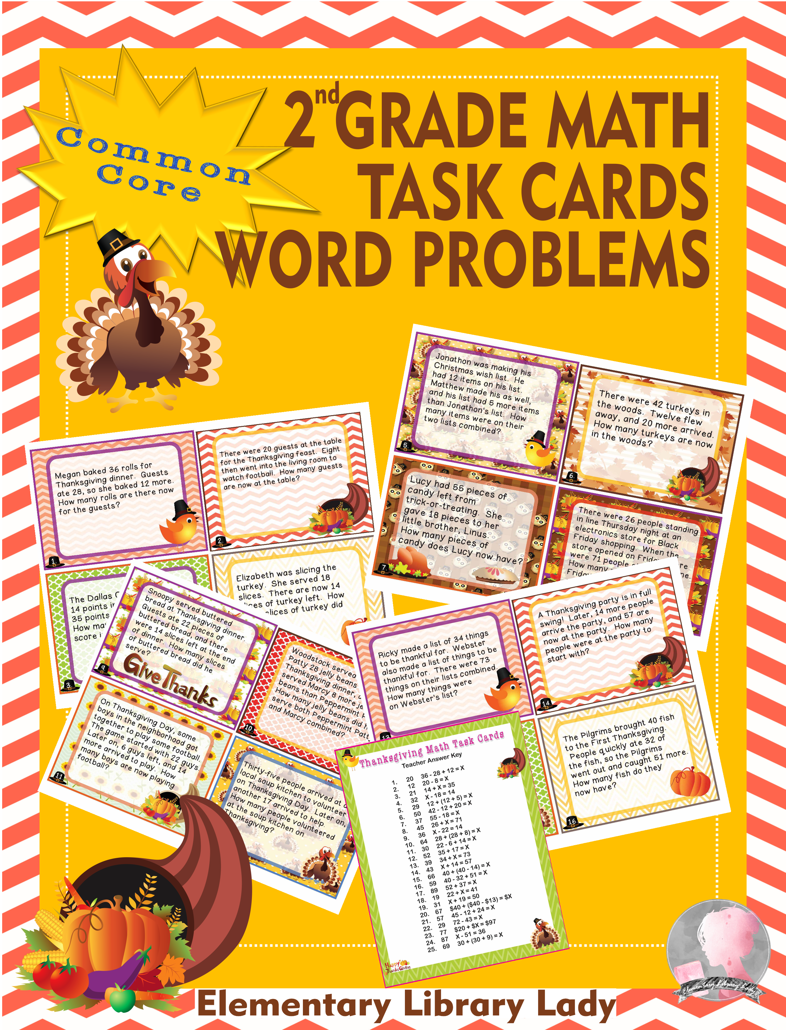 Thanksgiving Math 2nd Grade Task Cards Word Problems