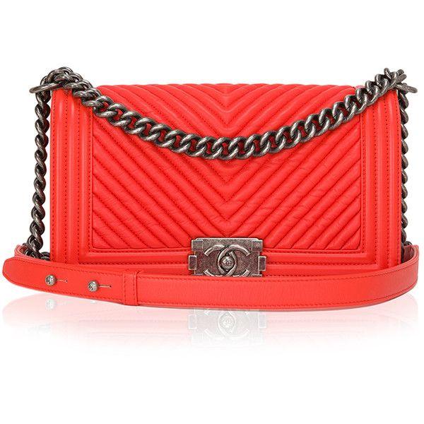 6648ac682e Madison Avenue Couture Chanel Orange Chevron Medium Boy Bag ($6,300) ❤  liked on Polyvore featuring bags, handbags, shoulder bags, leather handbags,  ...
