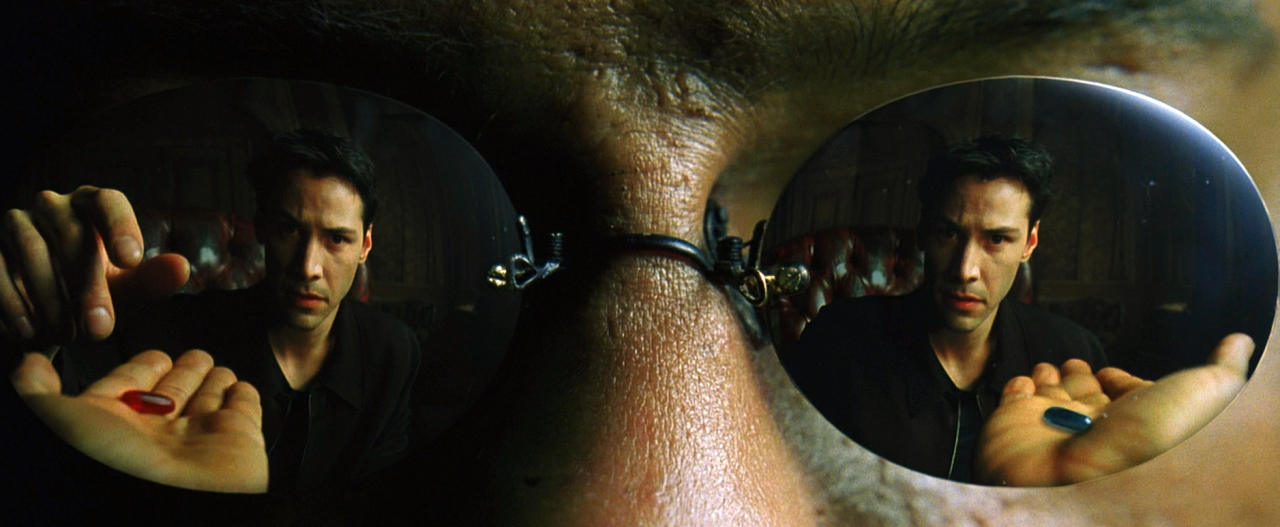 """Each lens in Morpheus' glasses have a different reflection of Neo in """"The  Matrix"""". 