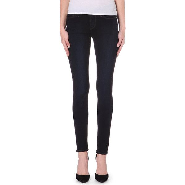 Paige Denim Leggy ultra-skinny mid-rise jeans ($250) ❤ liked on Polyvore featuring jeans, frayed skinny jeans, skinny leg jeans, skinny jeans, faded jeans and mid-rise jeans