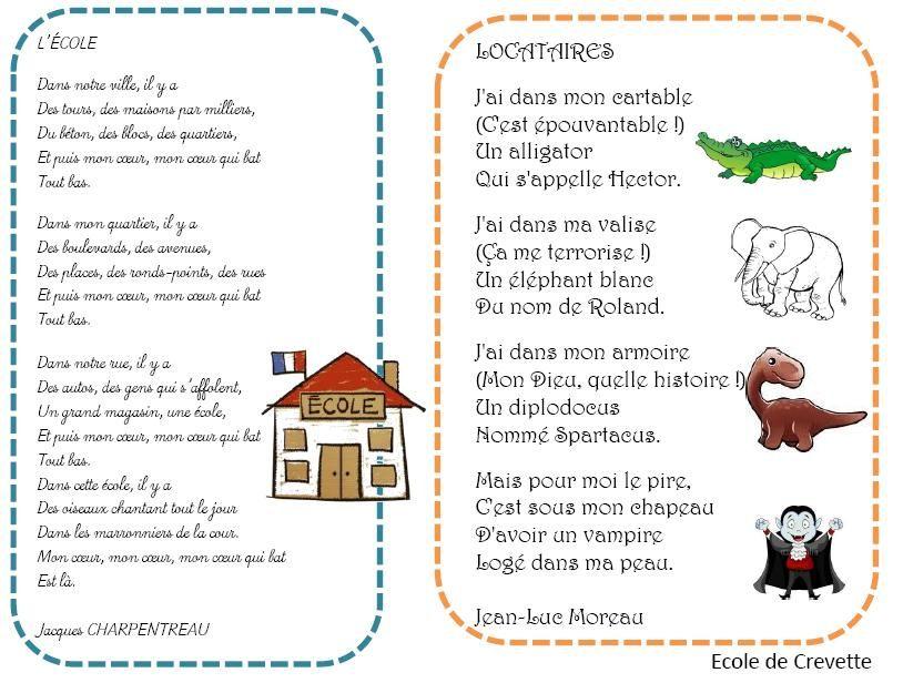 Poésies Pour La Rentrée Poésie Rentrée Poesie Ecole Et