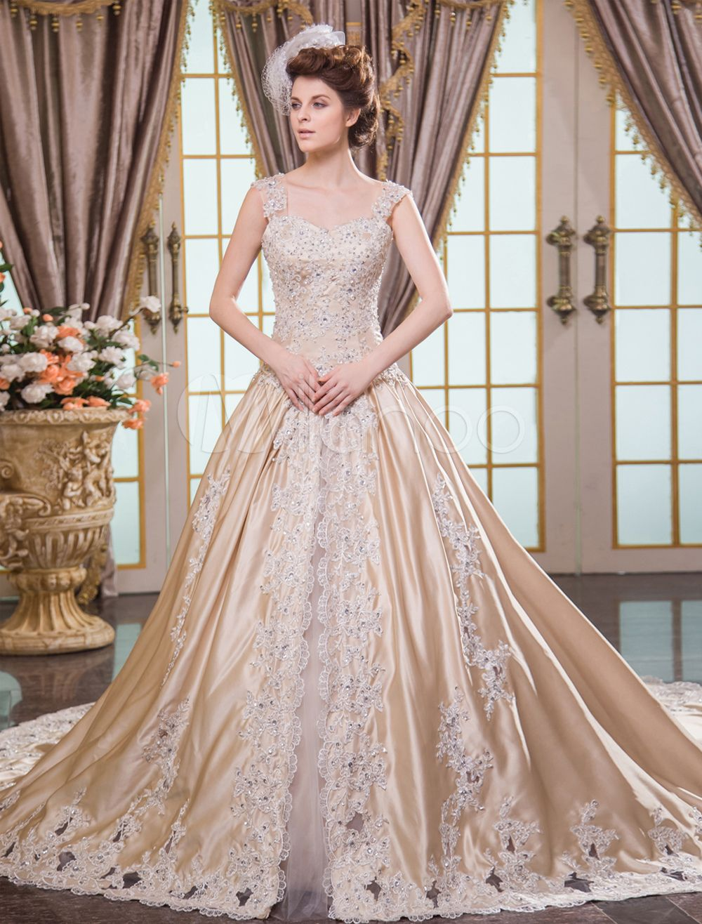 Champagne wedding dresses champagne wedding dresses pinterest champagne ball gown straps neck lace up bridal wedding dress ombrellifo Choice Image