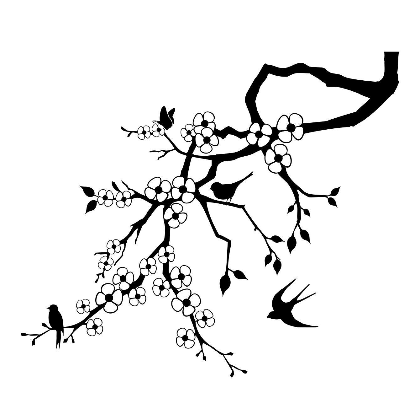tak met bloemen en vogels muursticker raamsticker