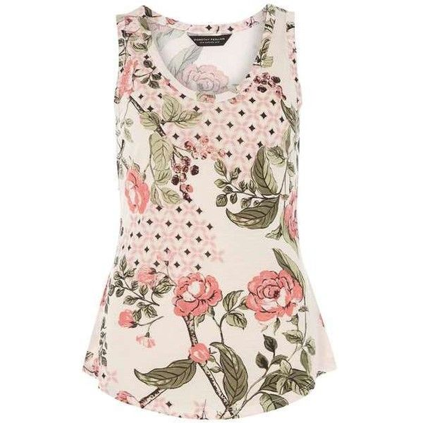 Blush floral tile vest top ($15) ❤ liked on Polyvore featuring tops, floral print tank top, dorothy perkins, floral tops, flower print tops and pink top