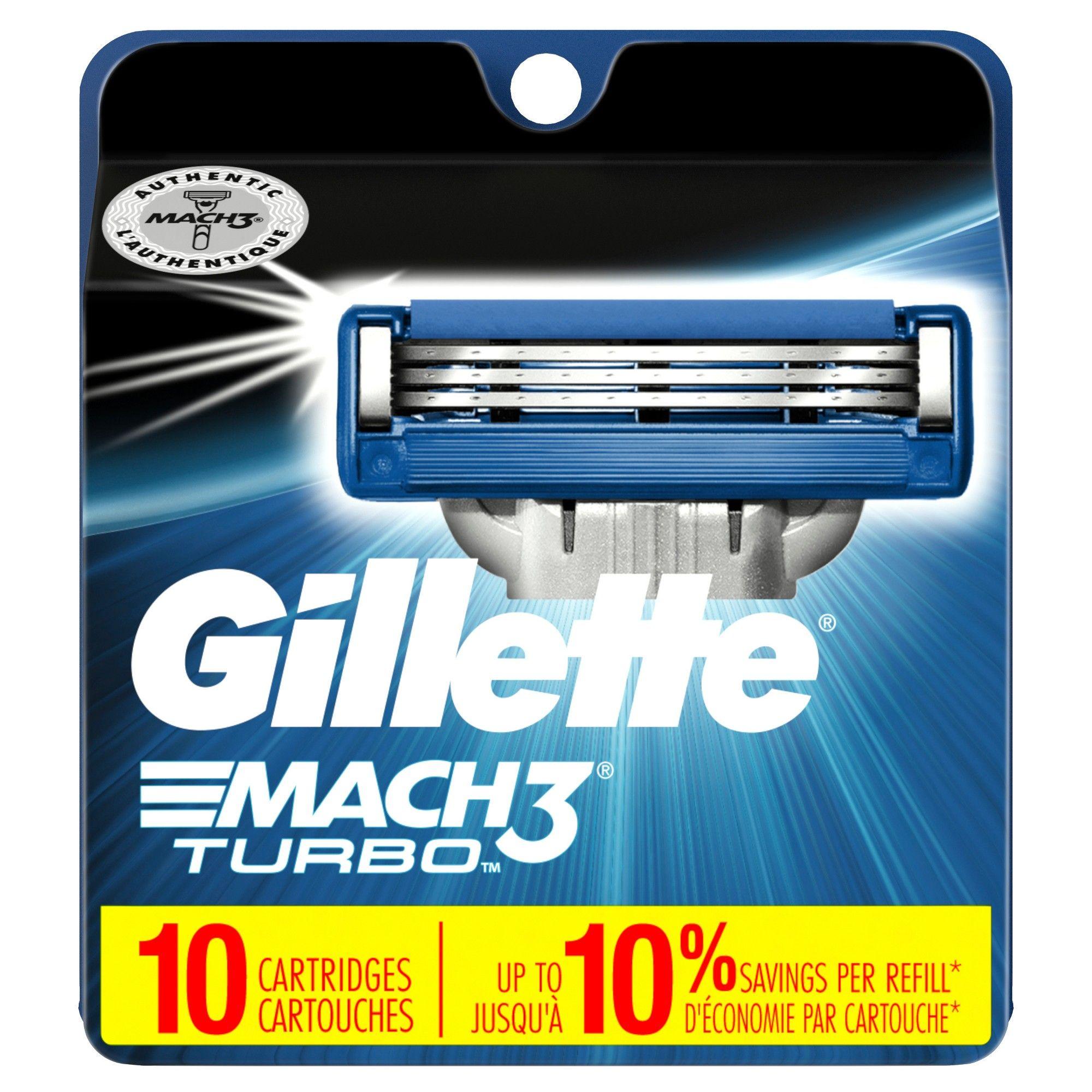Gillette mach3 turbo mens razor blade refills 10ct