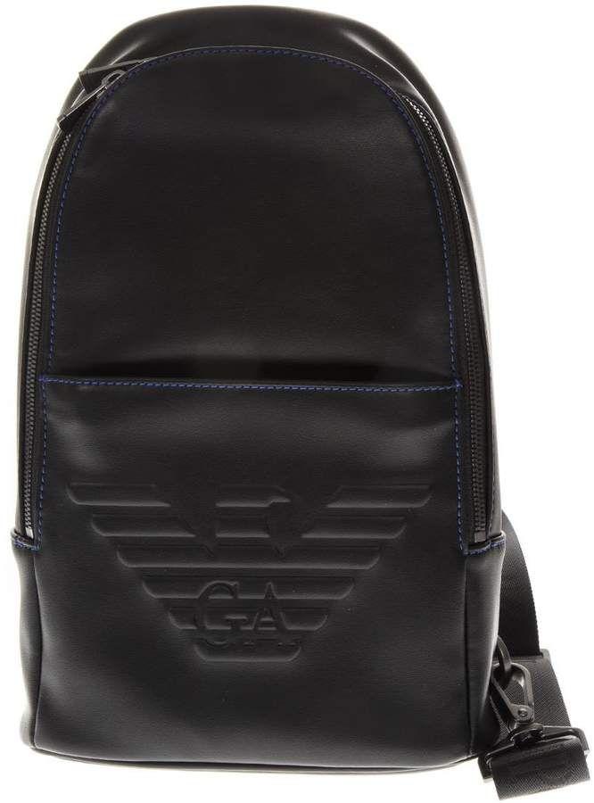 1784da3c99e9 Emporio Armani Black One Shoulder Embossed Eagle Backpack