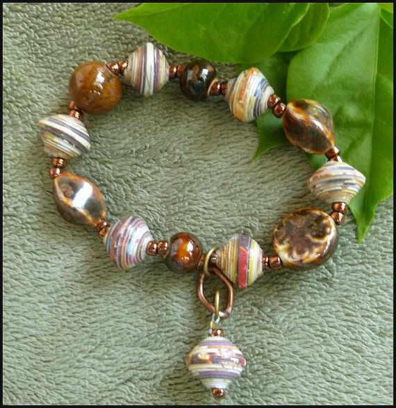 haiti bracelet paper beaded bracelet shades of brown rolled paper 7371