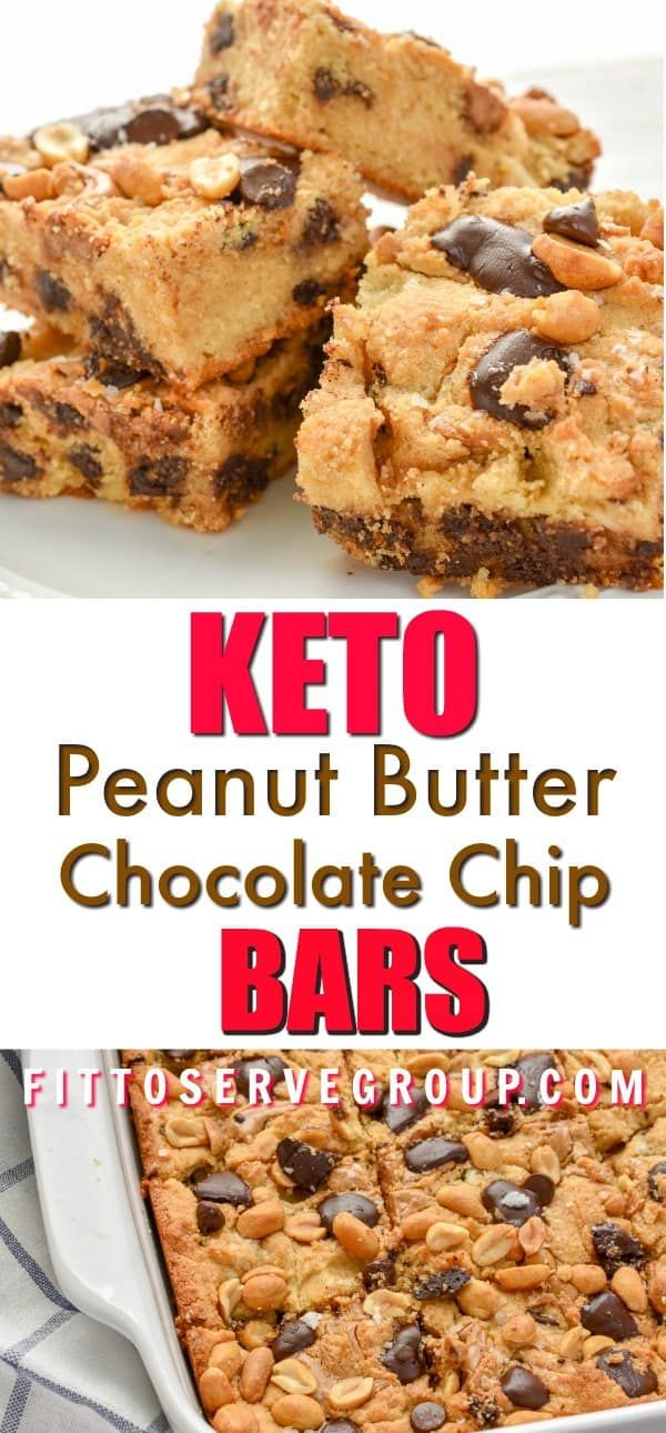 Keto Peanut Butter Chocolate Chip Bars #peanutbuttersquares