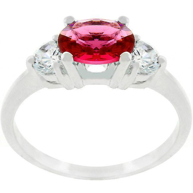 Serenade Oval Cubic Zirconia Ring in Garnet Red