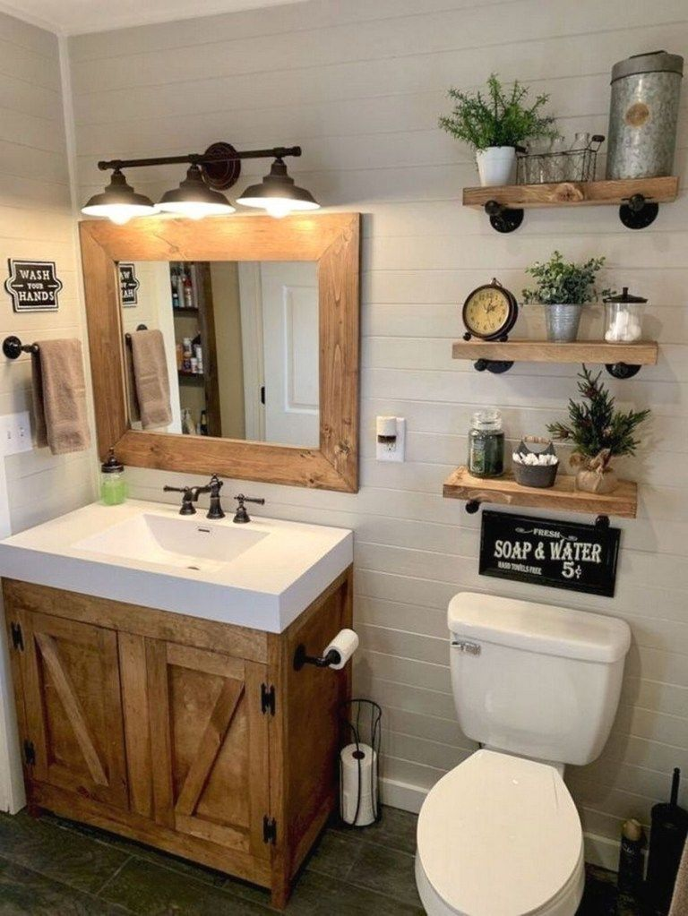 Adorable Powder Room Ideas Modern Small And Decorating Ideas In 2020 Small Farmhouse Bathroom Small Apartment Bathroom Apartment Bathroom