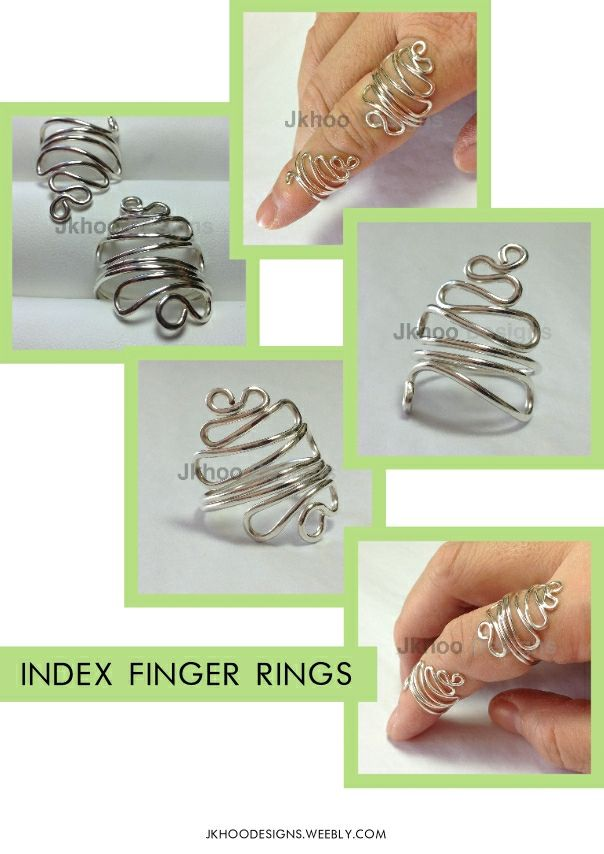 Adjustable sterling silver index finger rings - create interest and elegance to your most used finger. £57 http://jkhoodesigns.weebly.com/store/p139/Sterling_Silver_Twin_set_Index_Rings.html