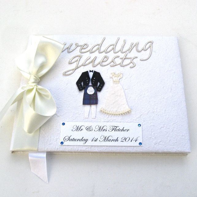 Large Personalised Guest Book - Cream satin ribbon £29.95