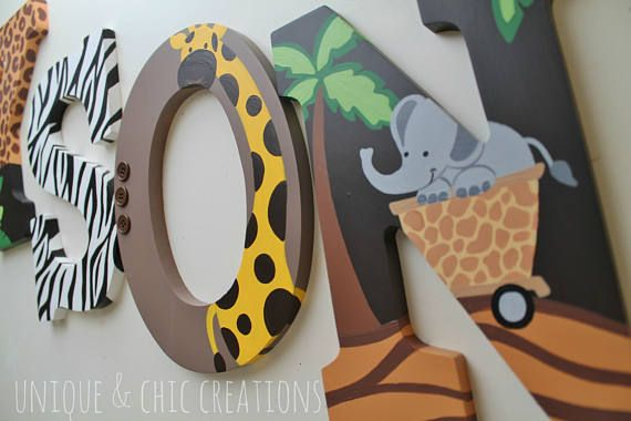 Lambs and Ivy Safari Express Themed Wooden Letters for Nursery ...