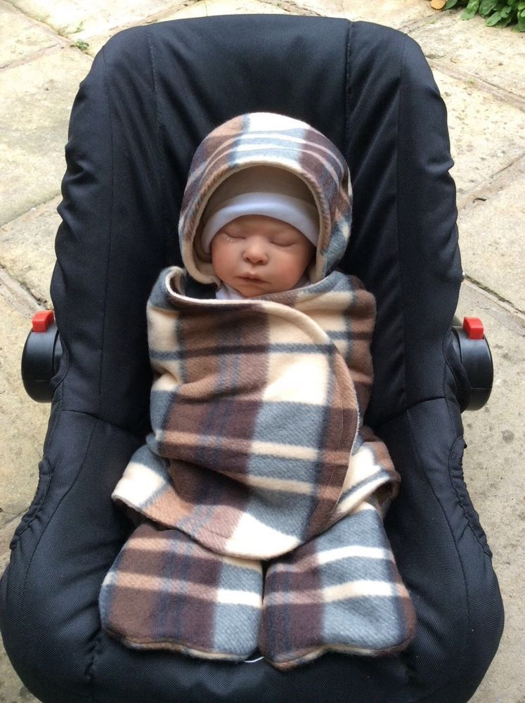 Car Seat Cosy Wrap Baby Blanket Brown Beige Tartan Check